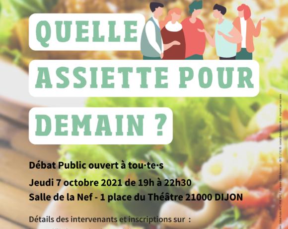 """Un débat public le 7 octobre 2021 """"Quelle assiette pour demain ?"""""""